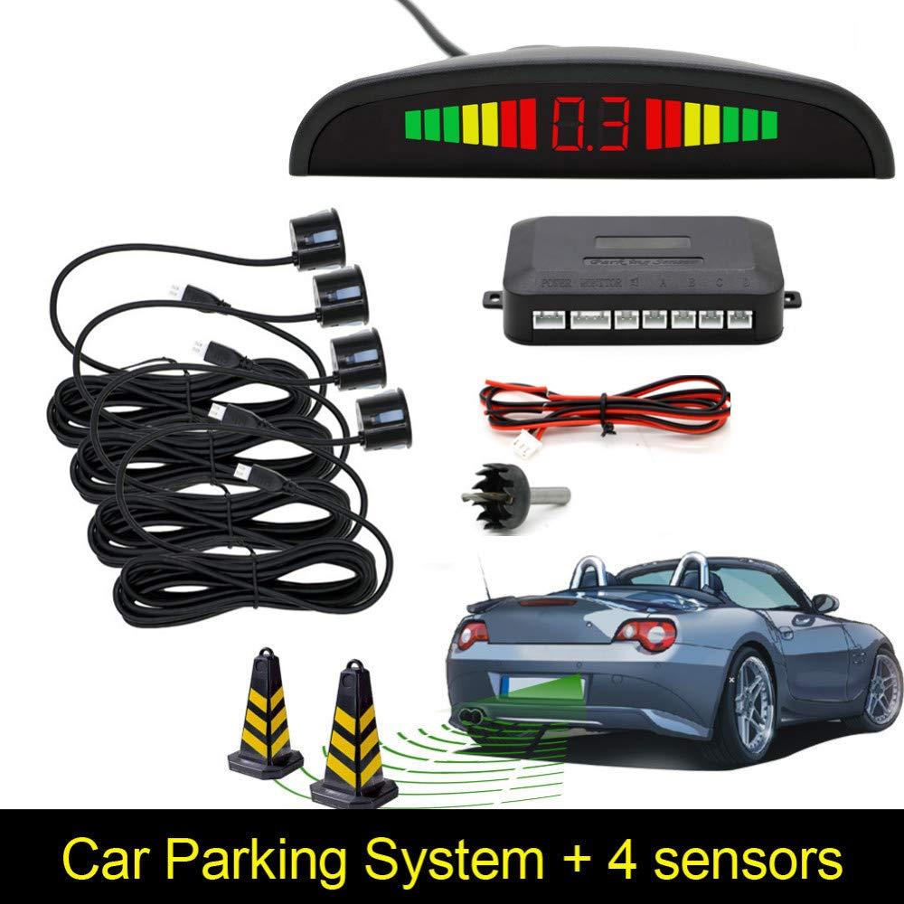radar pour voiture kit de 4 capteurs de stationnement Konesky Radar de secours avec radar de recul avec affichage /à LED