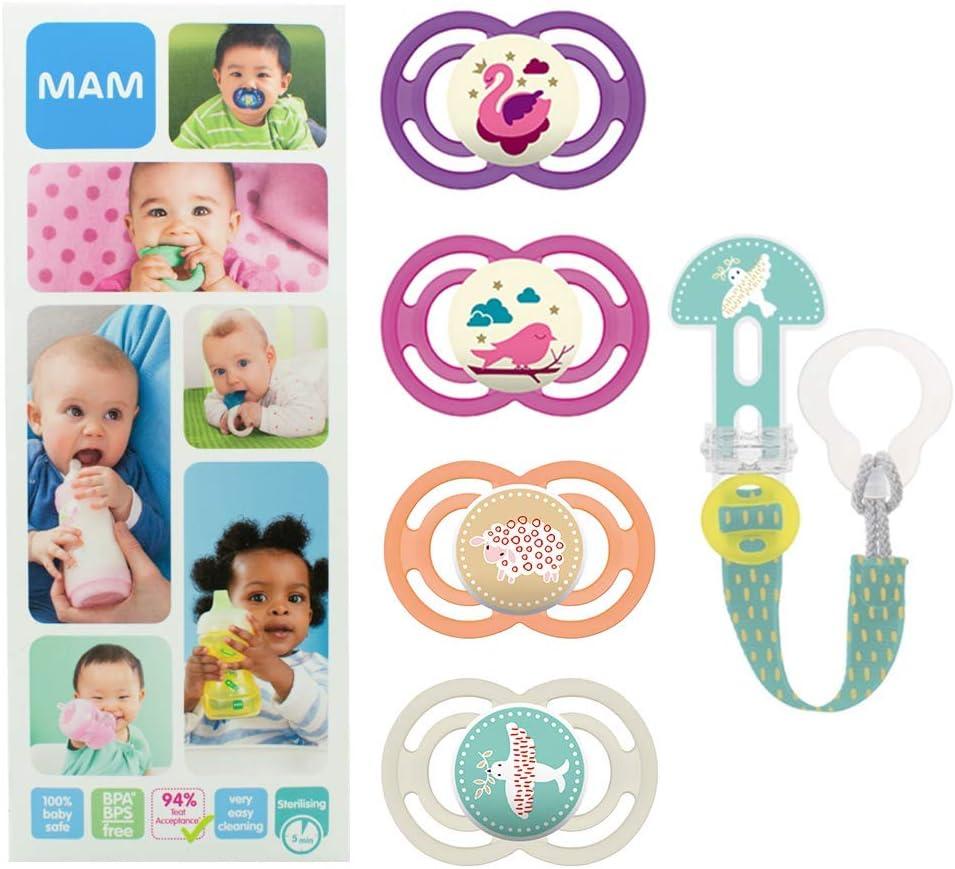 MAM Premium Soothing Set, juego de regalos para bebés de +6 meses, incluye 2 chupetes de silicona Perfect +6, 2 chupetes Perfect Night +6 y sujetachupetes Clip it, NIÑA (Girl)