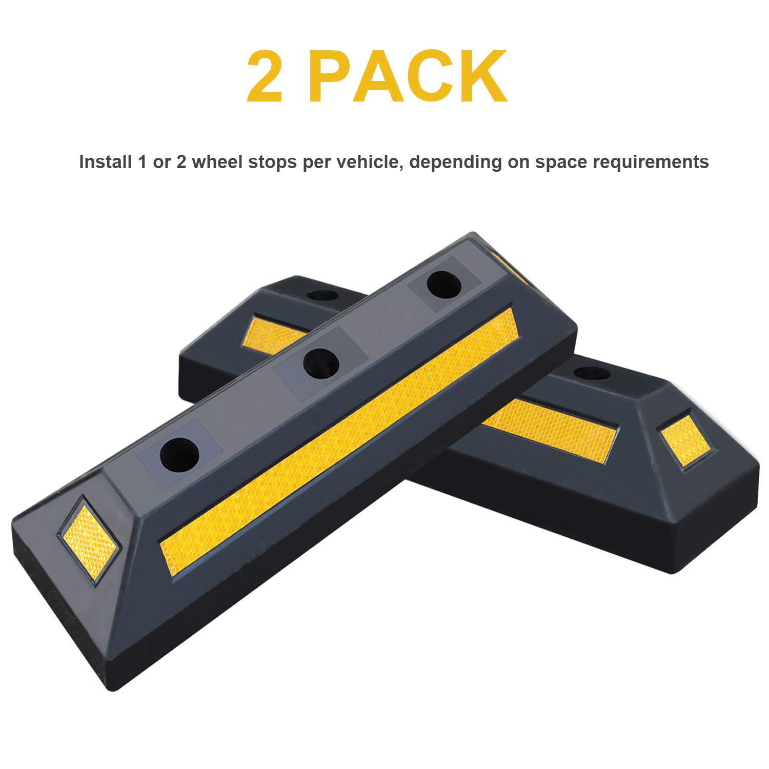2 Pack Heavy Duty Rubber Parking Blocks Wheel Stop for Car Garage Parks Wheel Stop Stoppers Professional Grade Parking Rubber Block Curb w/Yellow Refective Stripes for Truck RV, Trailer 21.25''(L) by Reliancer (Image #2)