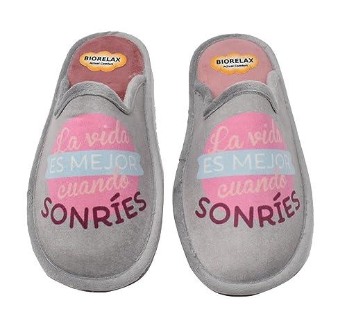 BIORELAX Zapatillas de casa para mujer -La vida es mejor cuando sonríes - 4602 (