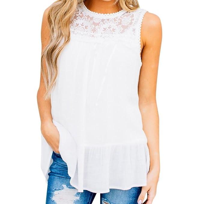 18a57e92e79 Elegant Women Lace Ruffle Vest Loose Sleeveless Solid Tank Tops Blouse (S