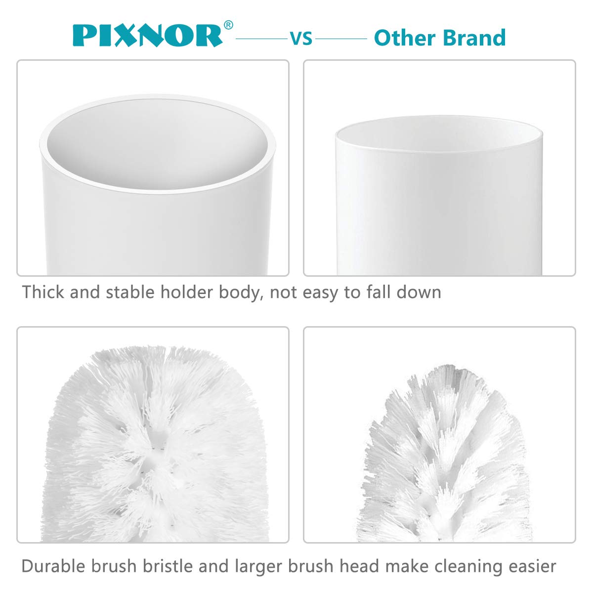 Dense PIXNOR Toilet Brush with Holder in Attractive Modern Design Stainless Steel 15 Inch Handle White Long Bristles Clean Easily Soft