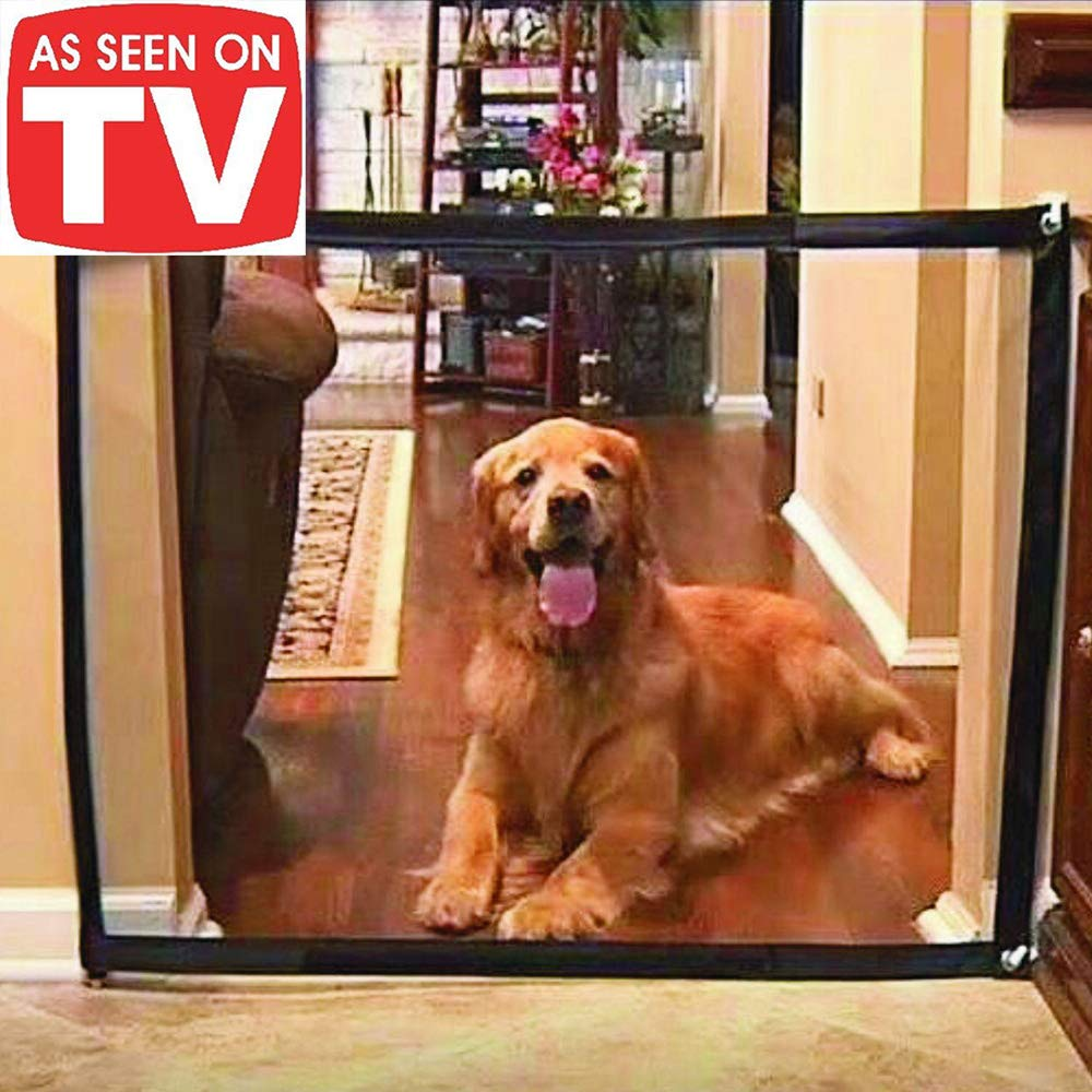 Magic Gate for Dogs - Guard Pet Safety Gate Safety Enclosure - Safe Guard for Pet - Baby Safety Fence - Portable Folding Mesh Gate- for House Indoor Use - As Seen On TV by ROSERAIN (Image #1)