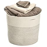 "Storage Basket Extra Large Cotton Rope Woven 17""x15"" Home Organizer Baskest Hand Woven Decorative Basket To Be Used As Laundry Hamper, Baby Toys Bin, Craft Storage Bin, Toddler Clothes Basket Bag"