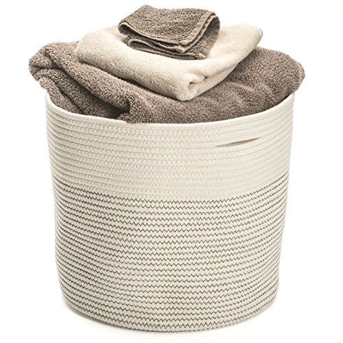 Storage Basket Extra Large Cotton Rope Woven 17x15 Home Organizer Baskest Hand Woven Decorative Basket To Be Used As Laundry Hamper, Baby Toys Bin, Craft Storage Bin, Toddler Clothes Basket Bag