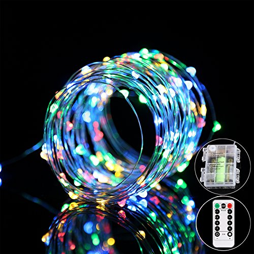 Amazon Lightning Deal 96% claimed: B-right 100LED 34ft Multi-color Dimmable Copper Wire String Lights, IP65 Waterproof, Timer Function, 8 Modes Starry Fairy String Lights Battery Powered with Remote Control