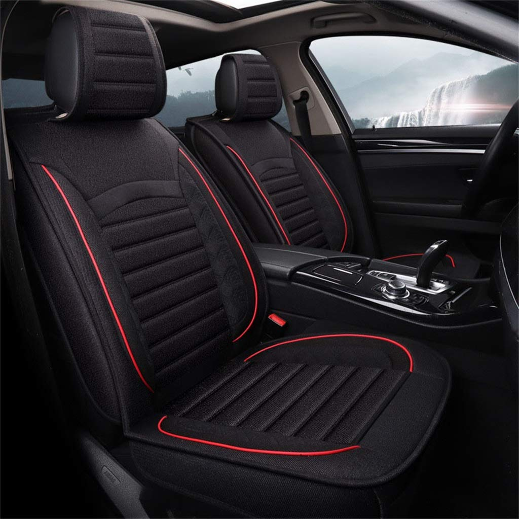 Black Breathable Cotton and Linen Car Seat Cushion 5D Full-Enclosed Four Seasons Universal