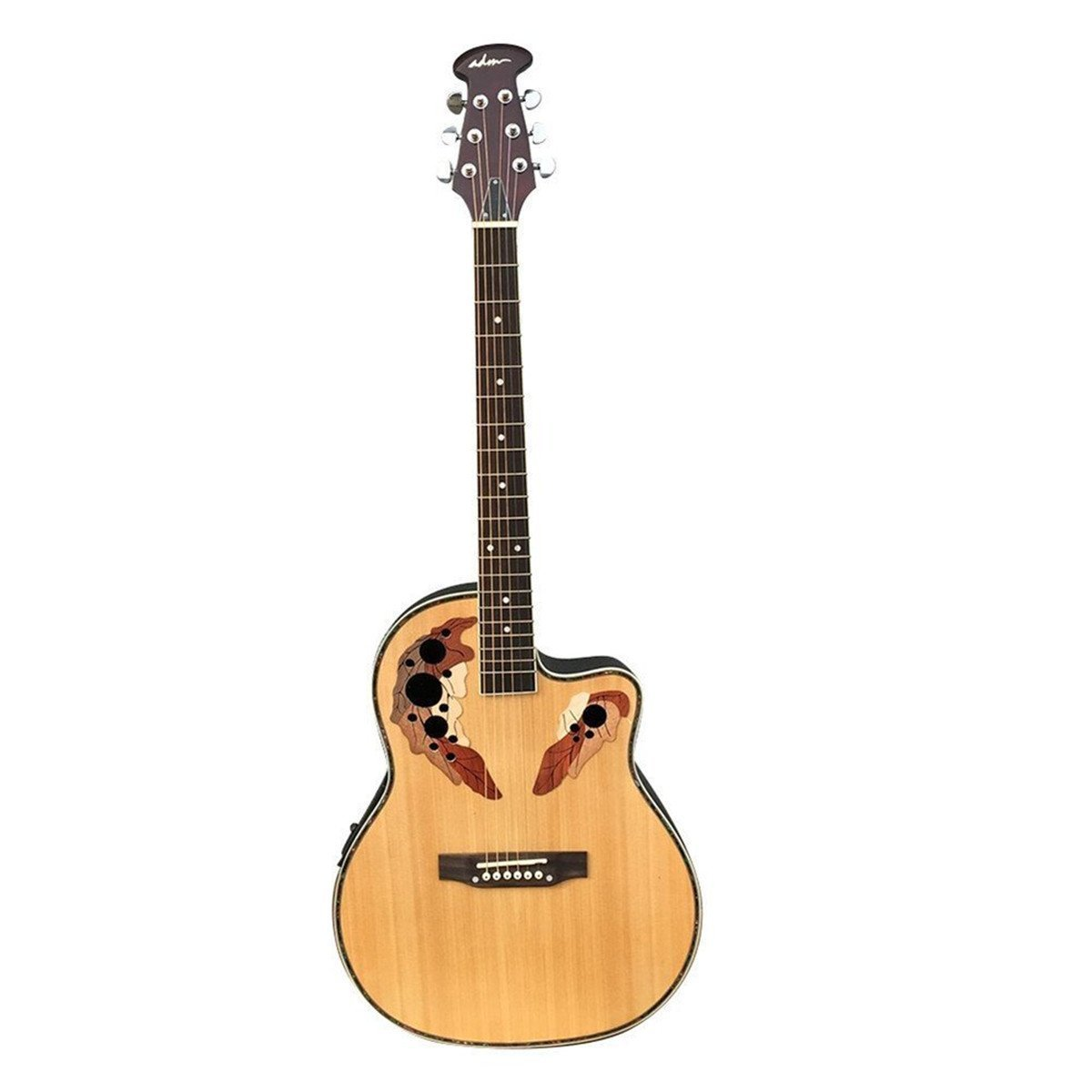 ADM Full Size Acoustic Electric Cutaway Guitar, Round Back Mutil Hole with 4-Band EQ, Natural