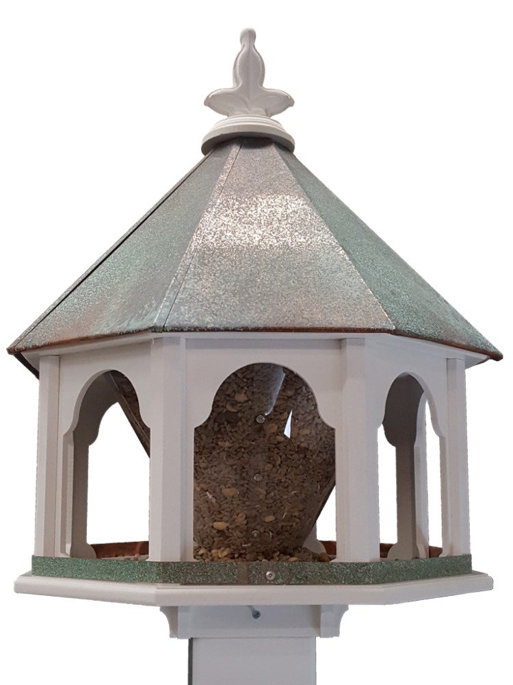 NC Birdguy Large Octagon Wild Bird Feeder Solid Cellular PVC Verdigris Copper Roof Made In the USA (SF18V)