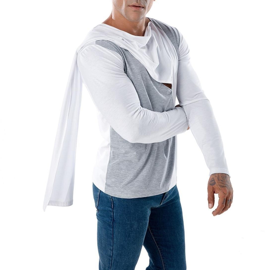 Resplend Camiseta de Manga Larga con Cuello Alto de Patchwork Casual para Hombre Camiseta de Manga Larga con Cuello Alto: Amazon.es: Ropa y accesorios