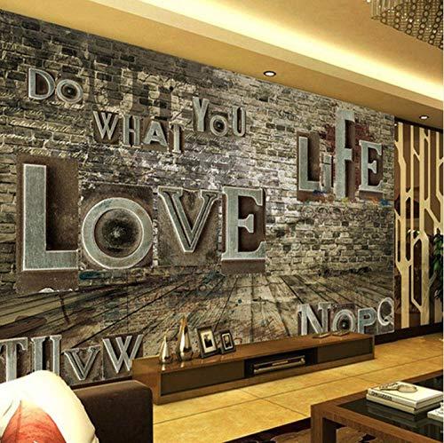 Mbwlkj Mural European Retro 3D Stereo Relief Brick Alphabet Wall Paper Personality Bar Restaurant Background Murals Wallpaper-150cmx100cm ()