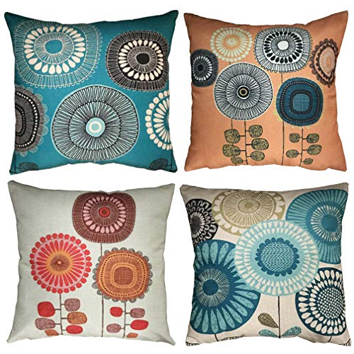 ULOVE LOVE YOURSELF Flowers Pattern Throw Pillow Covers Abstract Floral Design Pillowcase Home Decorative Square Cushion Covers 18 X 18 Inch,4Pack (Flowers Pattern)