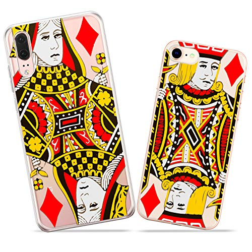Wonder Wild Queen and Jack Couple Case iPhone Xs Max X Xr 10 8 Plus 7 6s 6 SE 5s 5 TPU Clear Gift Apple Phone Cover Print Protective Double Pack Silicone Playing Cards Diamonds Gambling Casino Pair