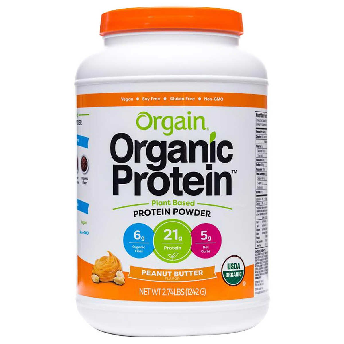 Orgain Organic Plant Based Protein Powder, Peanut Butter, Vegan, Gluten Free, Kosher, Non-GMO, 2.74 Pound, Packaging May Vary by Orgain