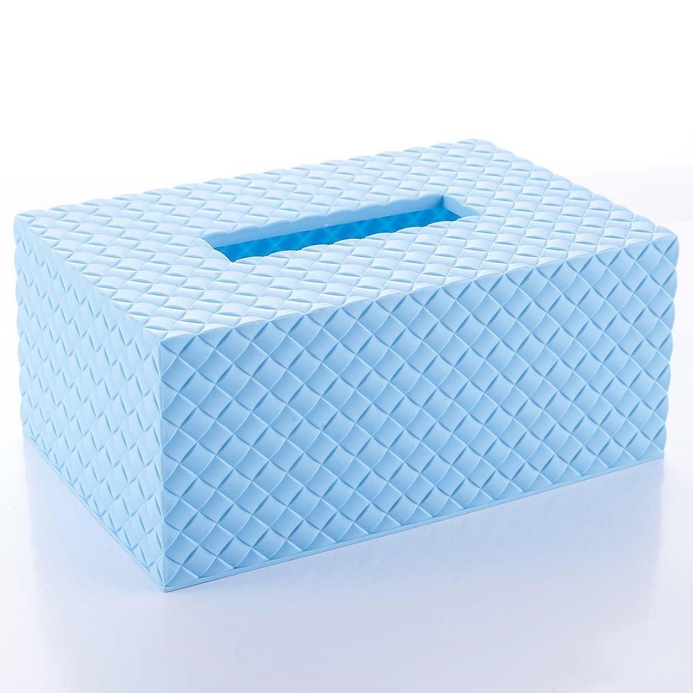/caja de pa/ñuelos papel servilleta Holder almacenamiento Caso para hogar habitaci/ón coche Hotel azul azul Caja de pa/ñuelos Woopower pl/ástico dispensador de toallitas caja beb/é/