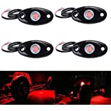 LY8 4Pods LED Rock Lights LED Neon Underglow Light for Car Truck ATV UTV SUV Jeep Offroad Boat Underbody Glow Trail Rig…