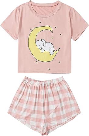 DIDK Pijama Mujer Verano Corto Conjunto de Pijamas Pantalones Manga Corto 2 Piezas