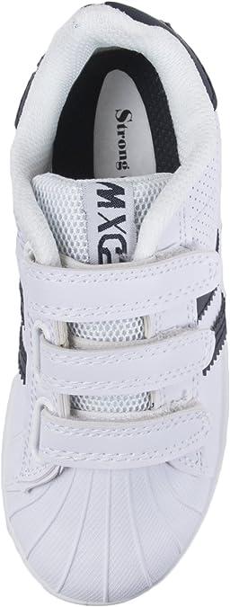 2 LD Outlet Neuf Enfants gar/çons Filles Noir l/école Chaussures Baskets Chaussures de Football de Tennis de Sangles et Crochets Taille 8