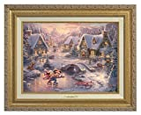 Thomas Kinkade Disney Mickey and Minnie Sweetheart Holiday 9'' x 12'' Canvas Classic (Gold)