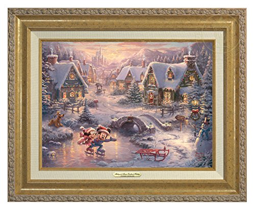 Thomas Kinkade Disney Mickey and Minnie Sweetheart Holiday 9'' x 12'' Canvas Classic (Gold) by Thomas Kinkade