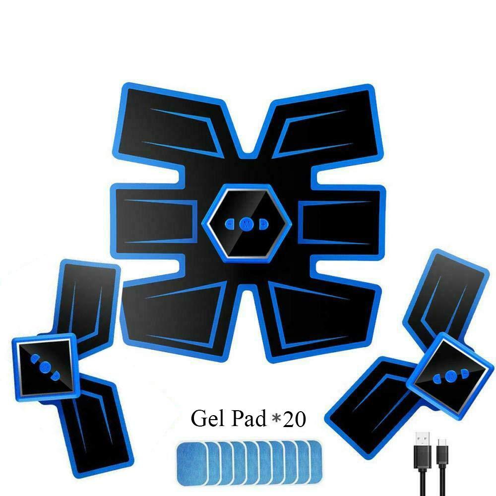 ABS Stimulateur Musculaire pour Abdomen Bras Jambes Formation Corps VICTOOM Electrostimulateur Musculaire EMS Ceinture Abdominale Electrostimulation USB Charge
