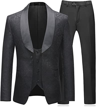 Men/'s Suits Formal White Wedding Groom Tuxedo Classic Prom Floral Slim Fit Suits