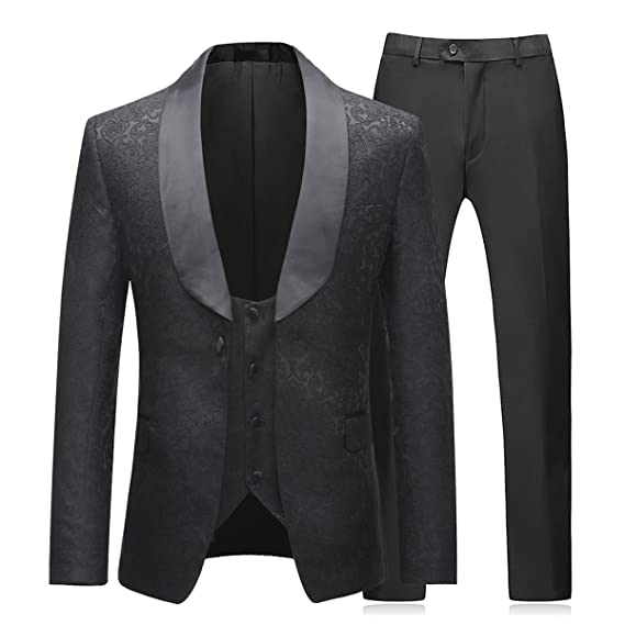 74a605220a Mens Suit 3 Piece Slim Fit Wedding Dinner Suits for Men Black Formal  Business Tuxedo Button Close Blazers Jacket Waistcoat Trousers   Amazon.co.uk  Clothing