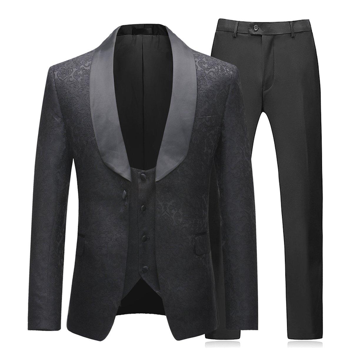 Sliktaa Costume Homme 3 Pièces Noir Formel Élégant Haut de Smoking Mariage  Business Bal Veste Gilet 58ae9dd5534