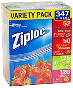 Ziploc Gallon, Quart, Sandwich, and Snack Storage Bags - Variety pack - 347 Total