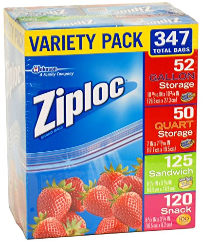 Price comparison product image Ziploc Gallon, Quart, Sandwich, and Snack Storage Bags - Variety pack - 347 Total