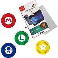 Película De Vidro 3.3mm 9H + 4 Grip Mario Do Joy-con Para o Nintendo Switch