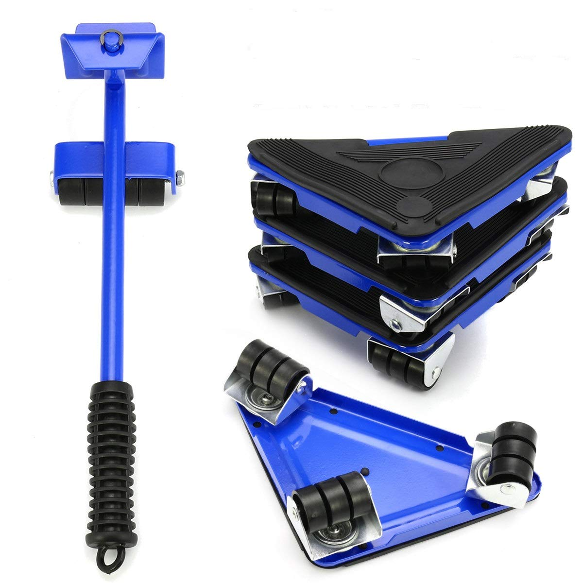 KINGSO 5PCS Furniture Lifter Moves Triple Wheels Mover Sliders Tools Kit Home Moving System Suitable for Sofas Couches and Refrigerators (Blue)