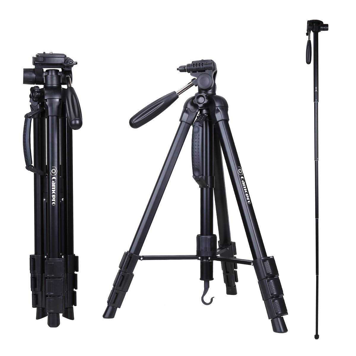 Camopro 70 Inches Professional Digital SLR Camera Aluminum Tripod Monopod for SLR DSLR Canon Nikon Sony DV Video with Carry Bag by Camopro