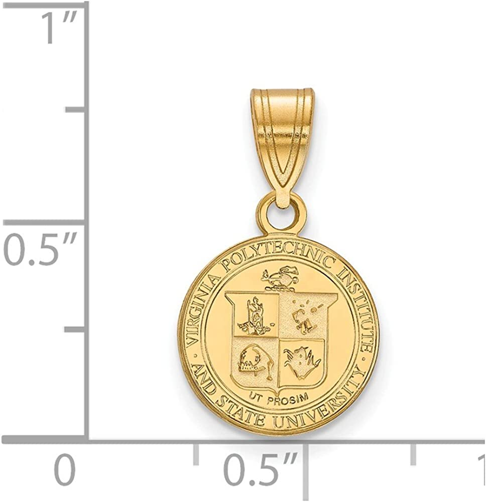 925 Sterling Silver Yellow Gold-Plated Official Virginia Tech Small Crest Pendant Charm 19mm x 12mm