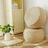 Diuspeed Woven Straw Cushion, Round Pouffe Handmade Chair Cushion, Tatami Yoga Seat Cushion, Knitted Floor Mat Garden Dining Room Decor at Home Outdoor
