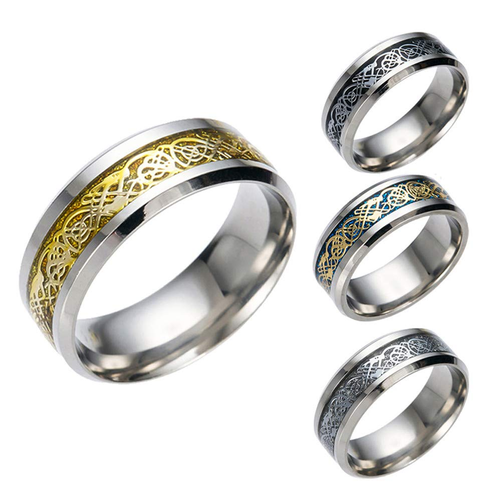 SMALLE ◕‿◕ Stainless Steel Rings for Men, Punk Dragon Stainless Steel Rings for Men Women Wedding Ring by SMALLE ◕‿◕ (Image #3)