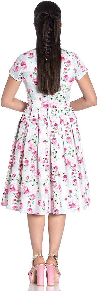 Hell Bunny Natalie Rosen Blumen Schottenkaro Plissiert 50s Jahre Sommerkleid