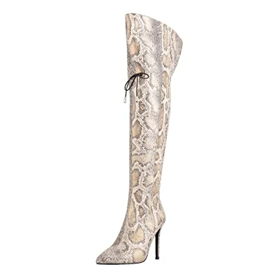 Onlymaker Womens Distressed Snakeskin Wide Calf Stiletto Over The Knee Boots | Over-the-Knee