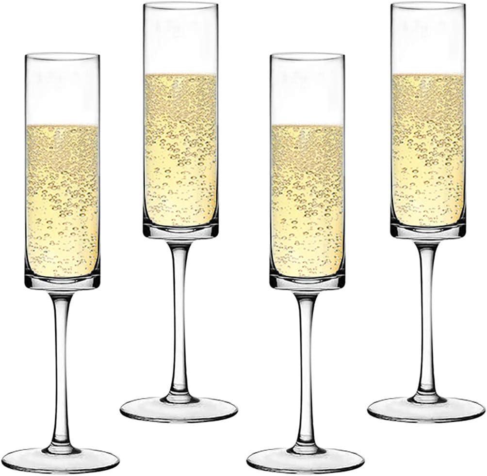 Champagne Flute Elegant Hand Blown Wedding Champagne Flutes Glasses Lead-free 4//pack