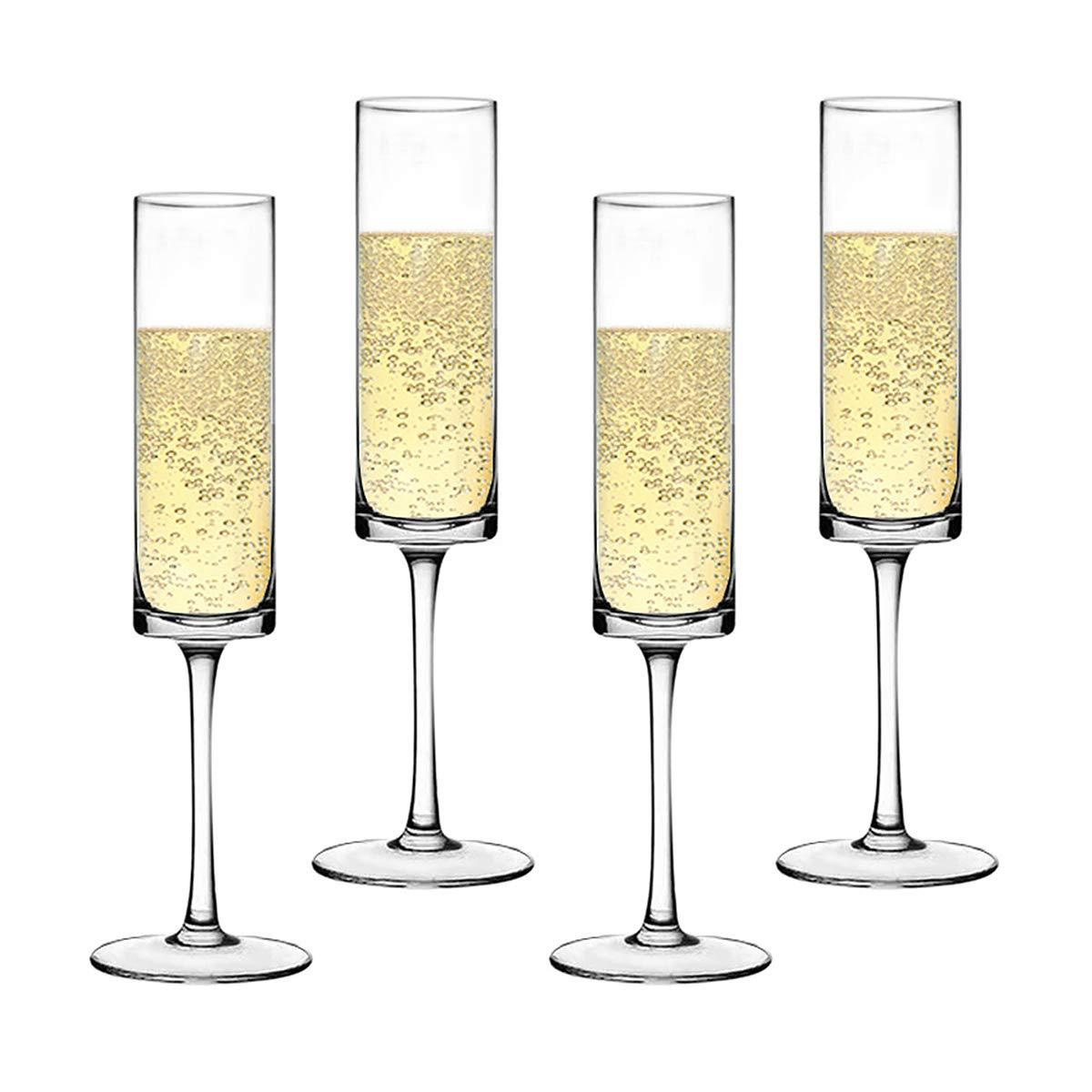 Premium Crystal Champagne Flute Glasses Elegantly Designed Hand Blown Champagne Glasses, Lead Free, Set of 4