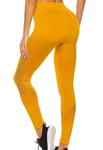 FITTOO Leggings Sin Costuras Corte de Malla Mujer Pantalon ...
