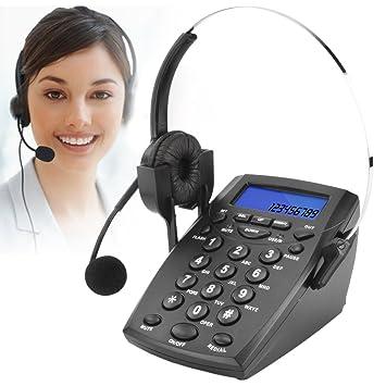 Teléfono Fijo - Call Center Teléfono con Auriculares Manos Libres, teléfono con Cable