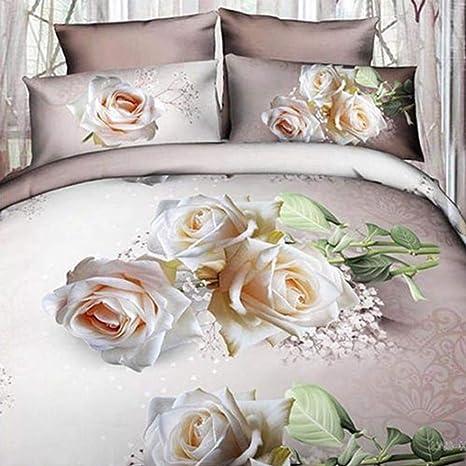 Lenzuola Matrimoniali In 3d.Trade Shop Traesio Completo Letto 3d Lenzuola Matrimoniale Sotto Sopra Copricuscini Rose Bianche
