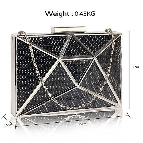 DELIVERY Mesh Black Metal Bag Beautiful Clutch Beautiful UK FREE Black IqwTSzZ