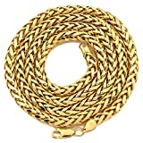 "LOVEBLING 10K Yellow Gold 5mm Wheat, Palm Chain Necklace Lobster Lock (18"", 20"", 22"", 24"", 26"" 28"", 30"")"