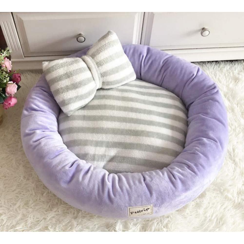 CZHCFF Dog bed rugs round puppy warm winter velvet soft lounger sofa kitten puppy cat nest kennel with pillow