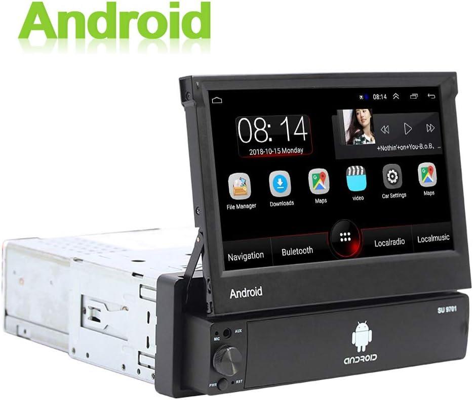 Android 1 DIN Radio de Coche GPS CAMECHO 7 Pulgadas hacia afuera Pantalla tactil capacitiva Bluetooth FM Radio WiFi Navegación Enlace Espejo para teléfono Android iOS + Cámara de visión Trasera