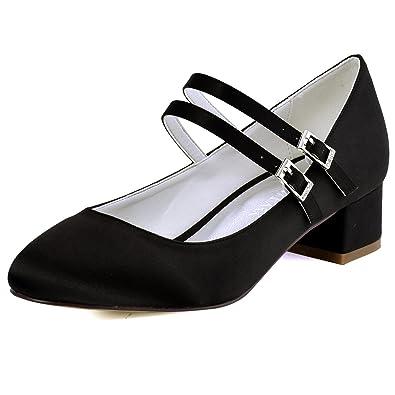 ElegantPark Women Closed Toe Chunky Heel Mary Jane Pumps Satin Evening Wedding Dress Shoes   B01N6II91C