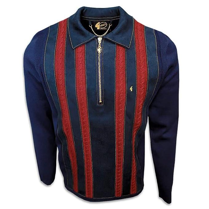 60s 70s Men's Jackets & Sweaters Gabicci Mens 70s Retro Stripe Quarter Zip Knit Polo $99.95 AT vintagedancer.com