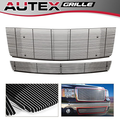AUTEX Polished Aluminum Main Upper Billet Grille +Lower Bumper Grill Insert Combo Compatible with 2007-2013 GMC Sierra 1500 New Body, 2007-2010 Denali Grille G67860A